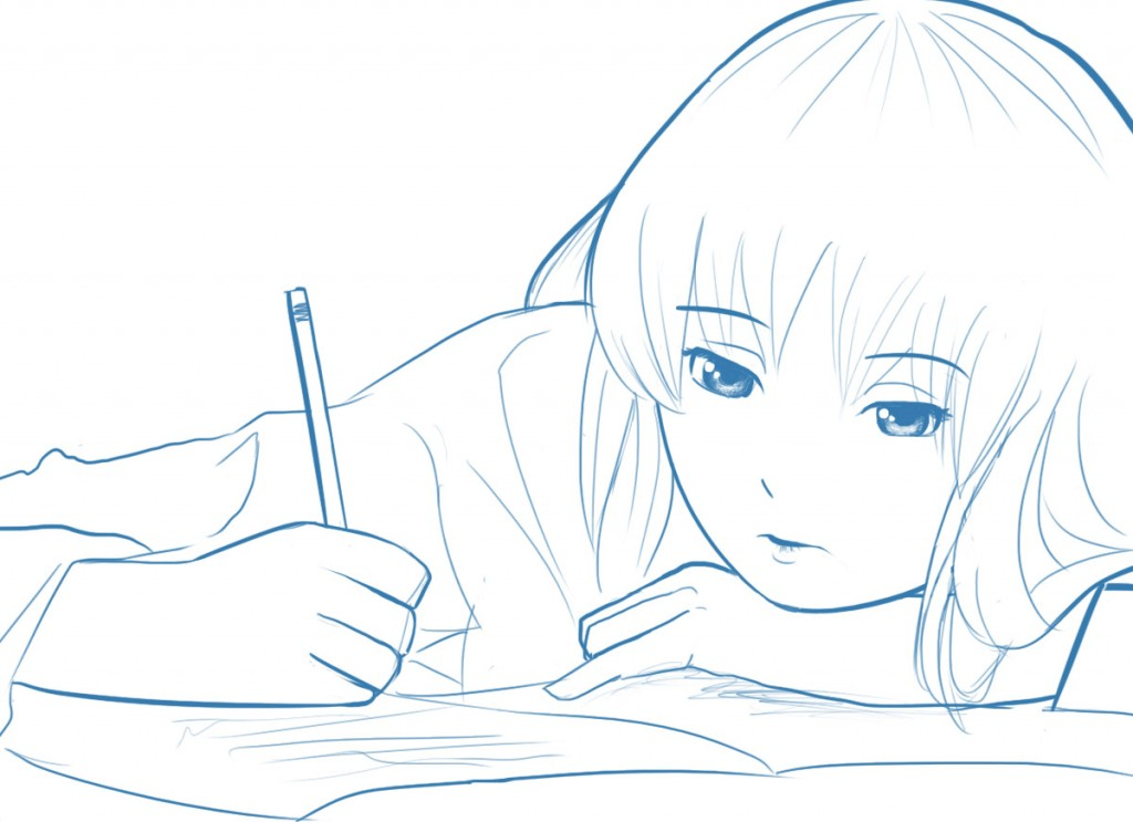 Sketch of a girl writing. I'm not a girl btw. I just draw them. Cause.